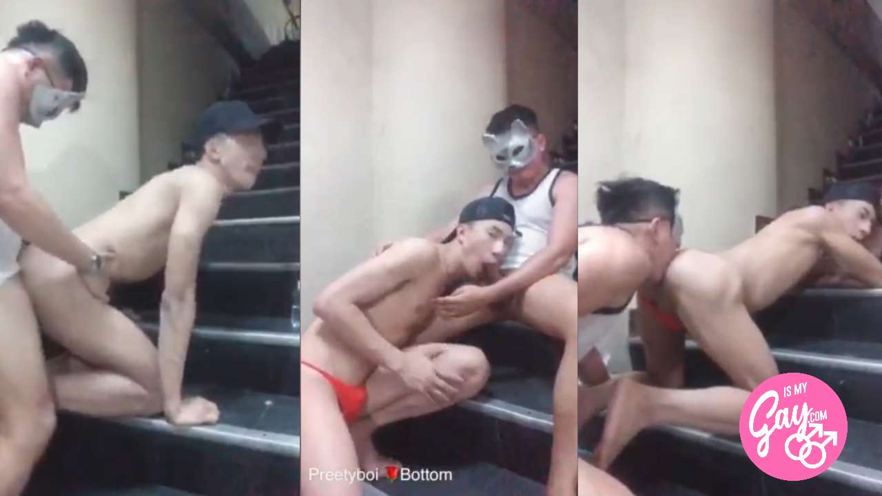Asian Pretty Boy Fucked By His Landlord at the Stairs